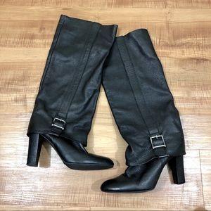 ZARA Black Leatherr Slouchy Heeled Buckle Boots